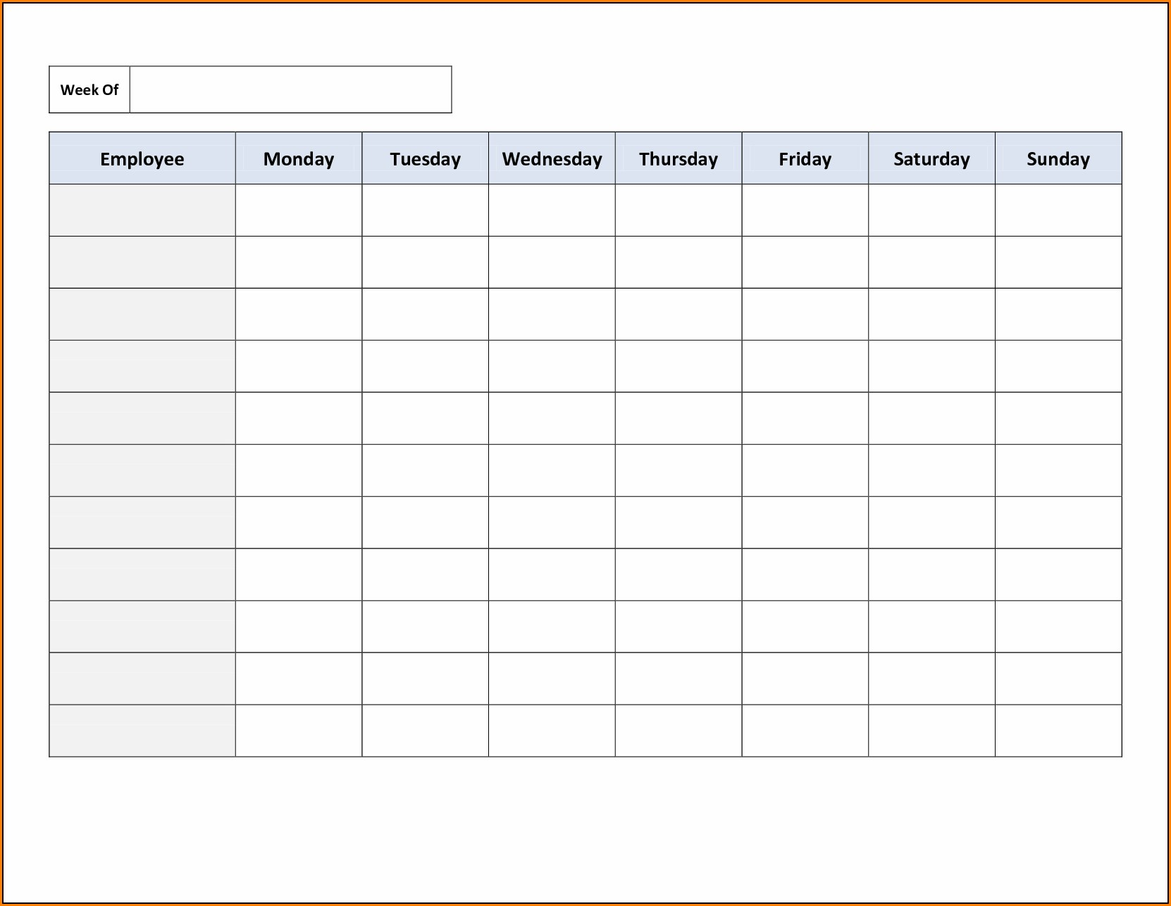 Free Employee Schedule Template