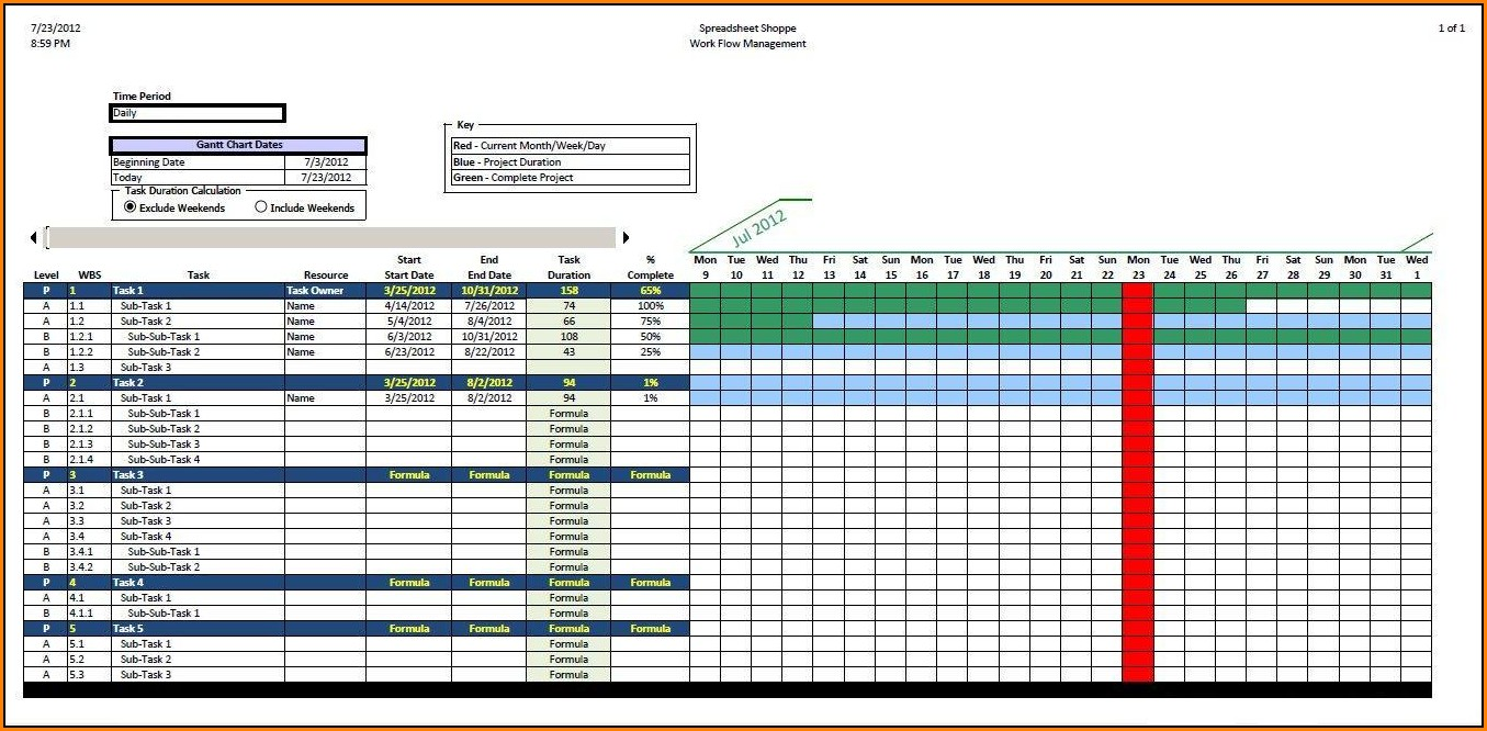 Free Excel Gantt Chart Template Download