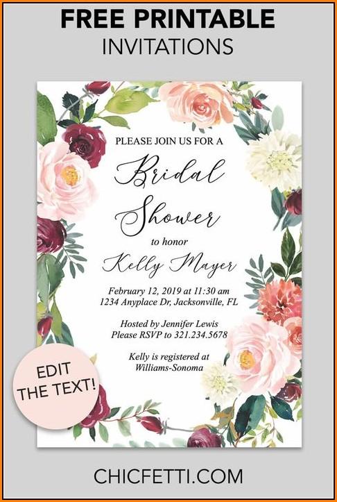 Free Fall Bridal Shower Invitation Templates