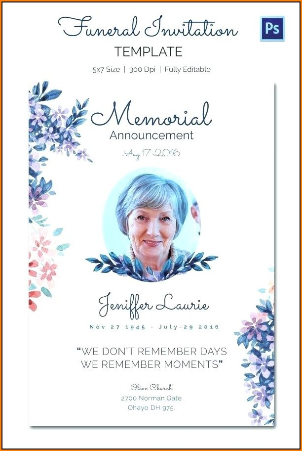 Free Funeral Invitation Template Word