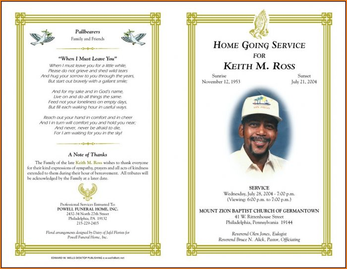 Free Funeral Program Template Microsoft Publisher Download