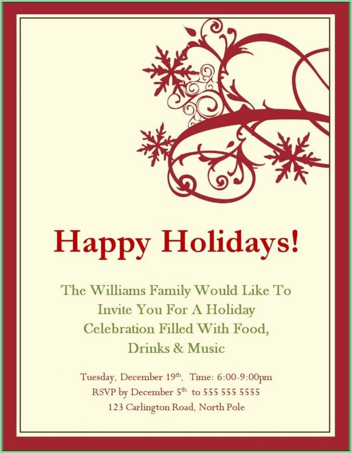 Free Holiday Invitation Templates Word