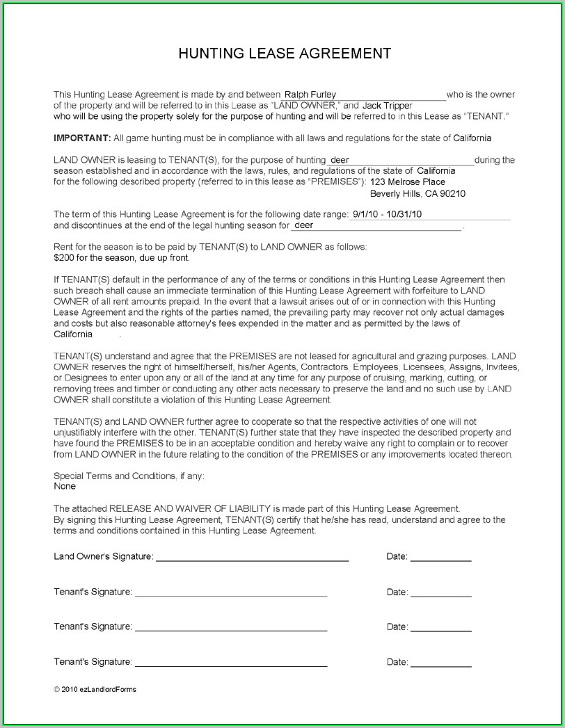 Free Hunting Lease Agreement Template Template 1 Resume Examples