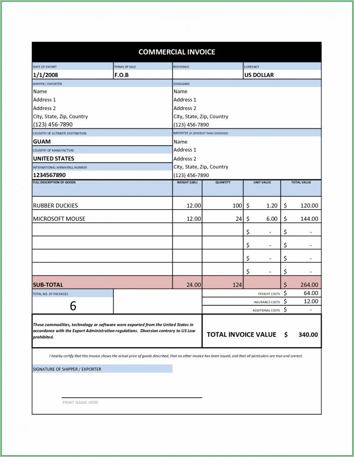 Free Invoice Template Excel India