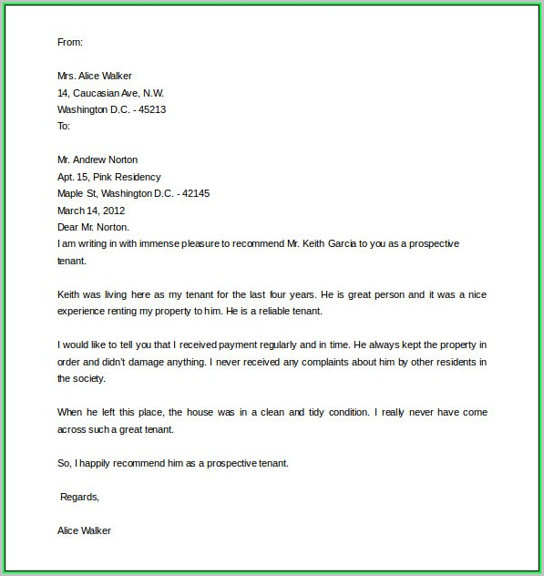 Free Letter Of Recommendation Template Word
