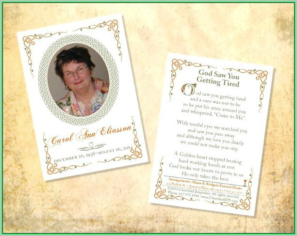Free Memorial Card Template Microsoft Word