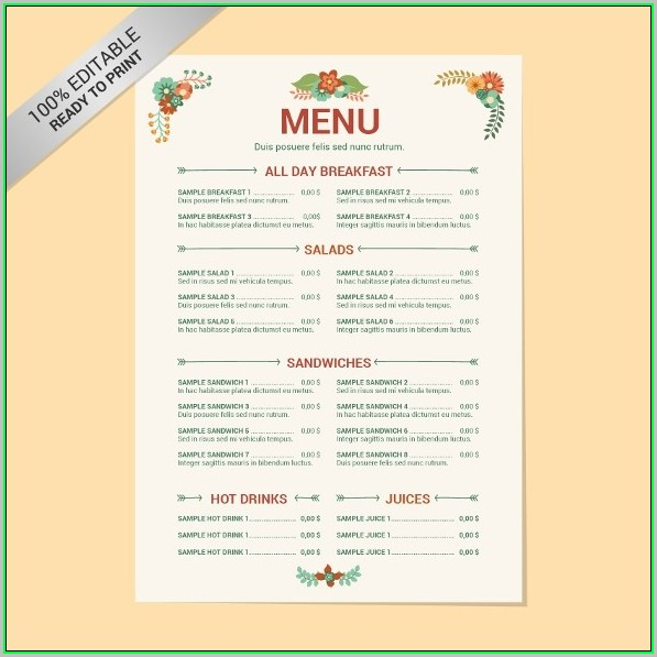 Free Menu Design Templates Word