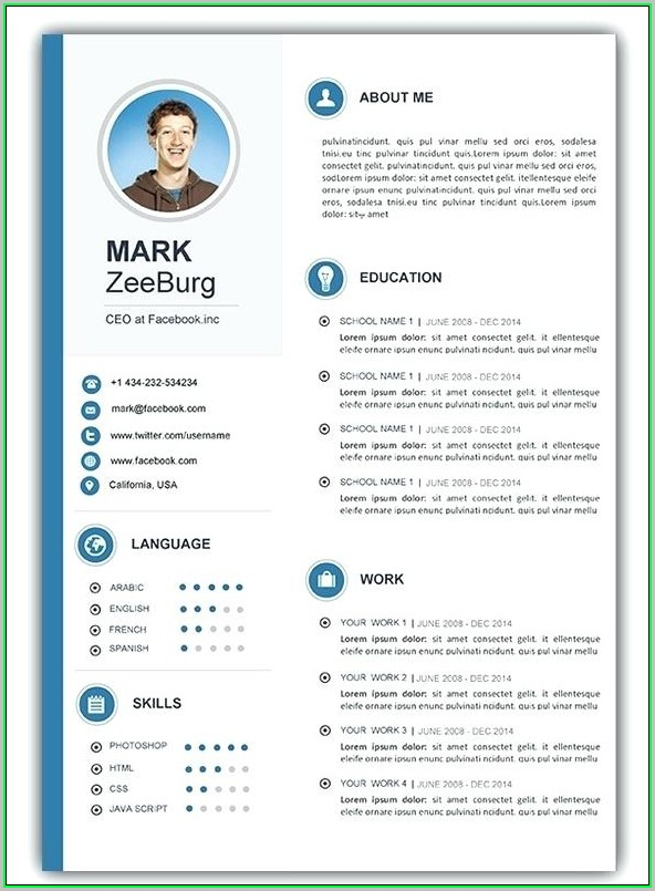 Free Modern Resume Templates For Word 2018