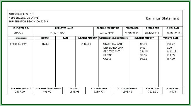 Free Paycheck Stub Template Download
