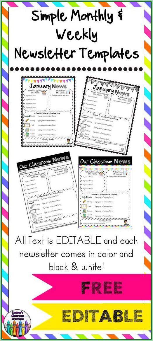 Free Preschool Weekly Newsletter Templates