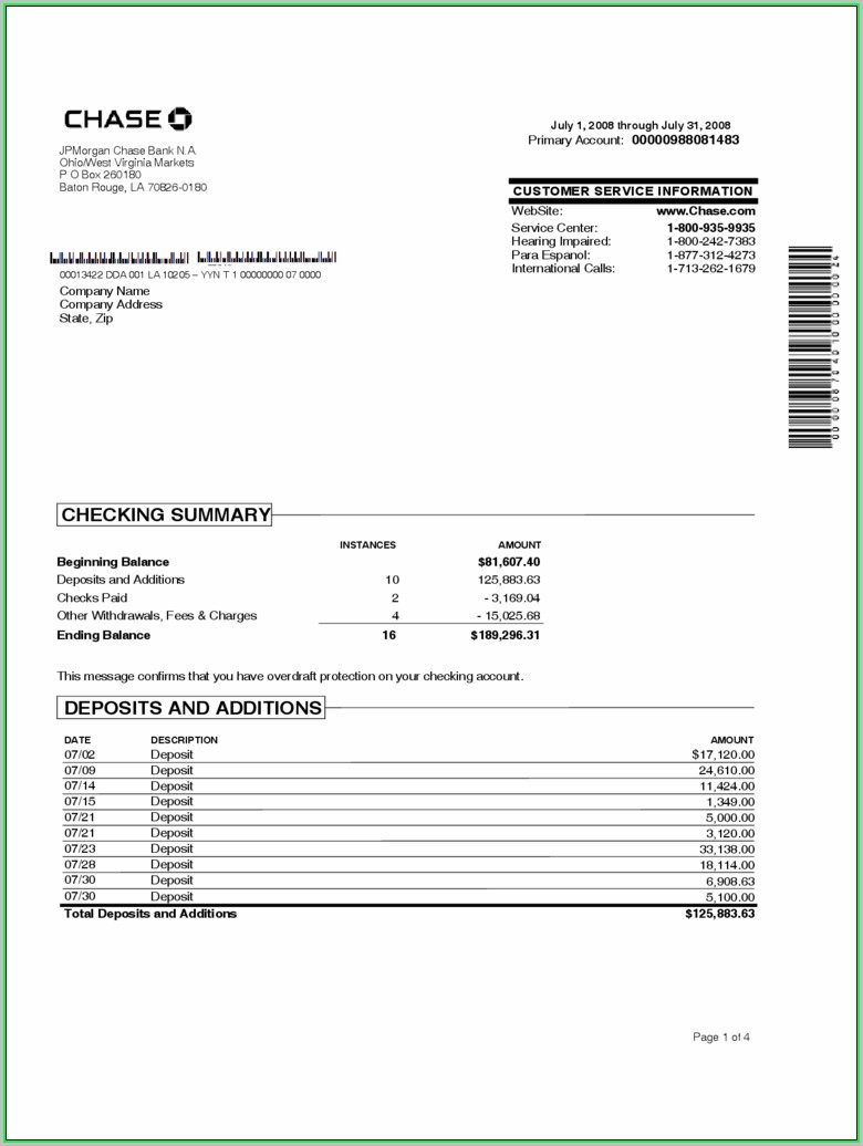 Free Printable Bank Statement Template Download