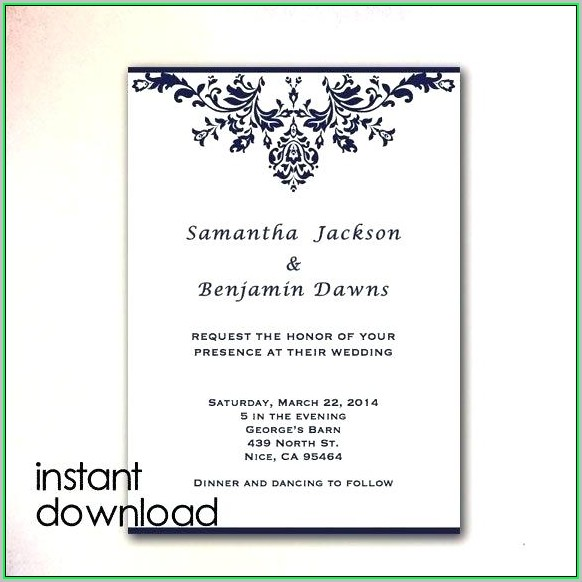 Free Printable Blank Wedding Invitation Templates Royal Blue