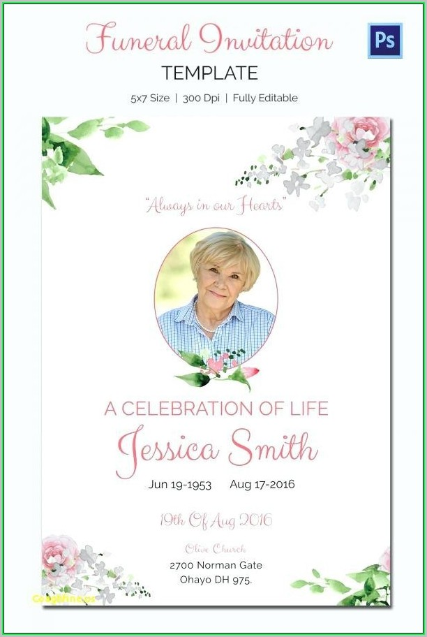 Free Printable Celebration Of Life Program Template