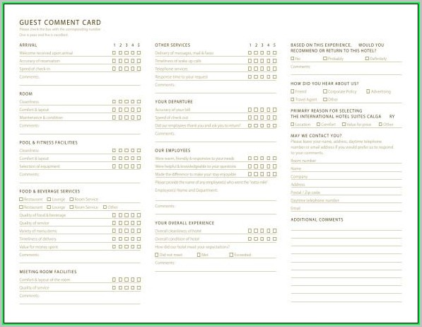 Free Printable Comment Card Template