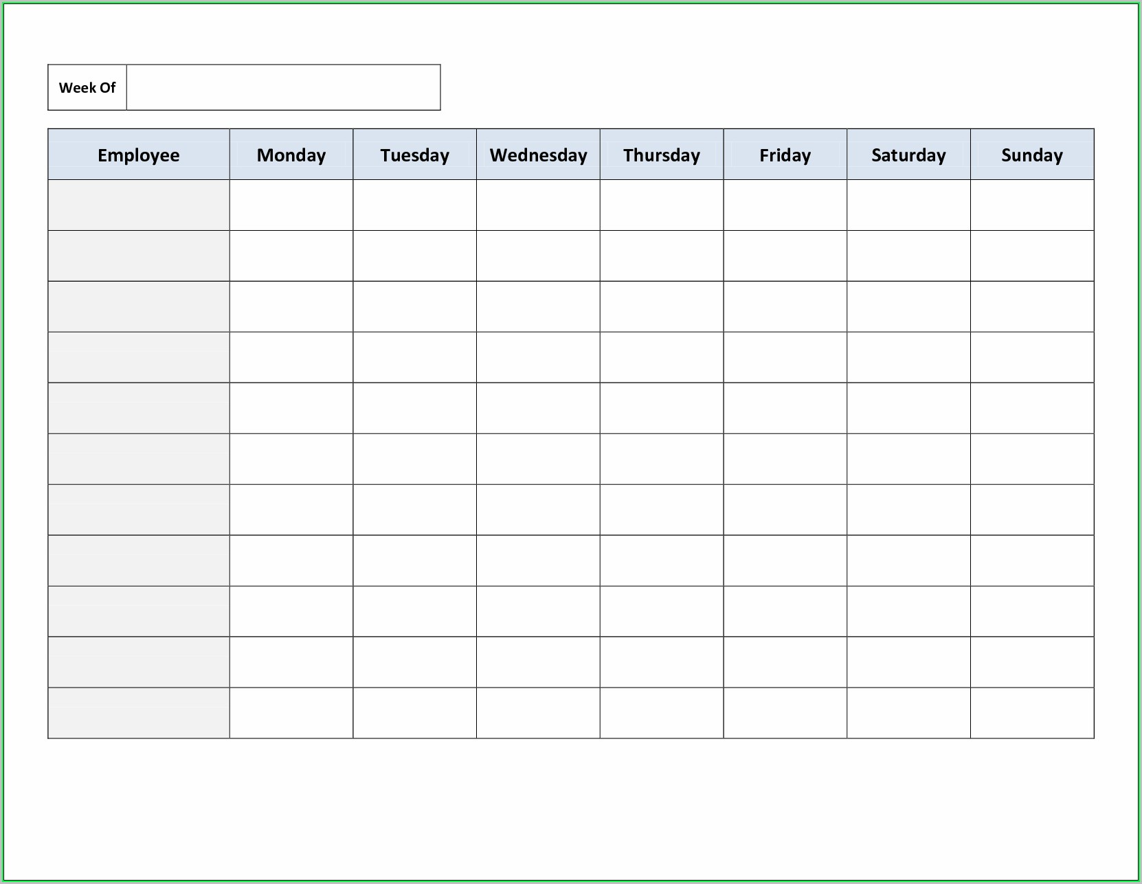 Free Printable Employee Work Schedule Template