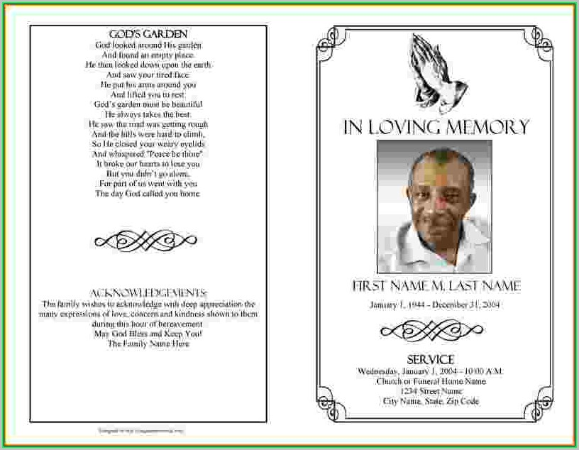 Free Printable Funeral Program Template Word