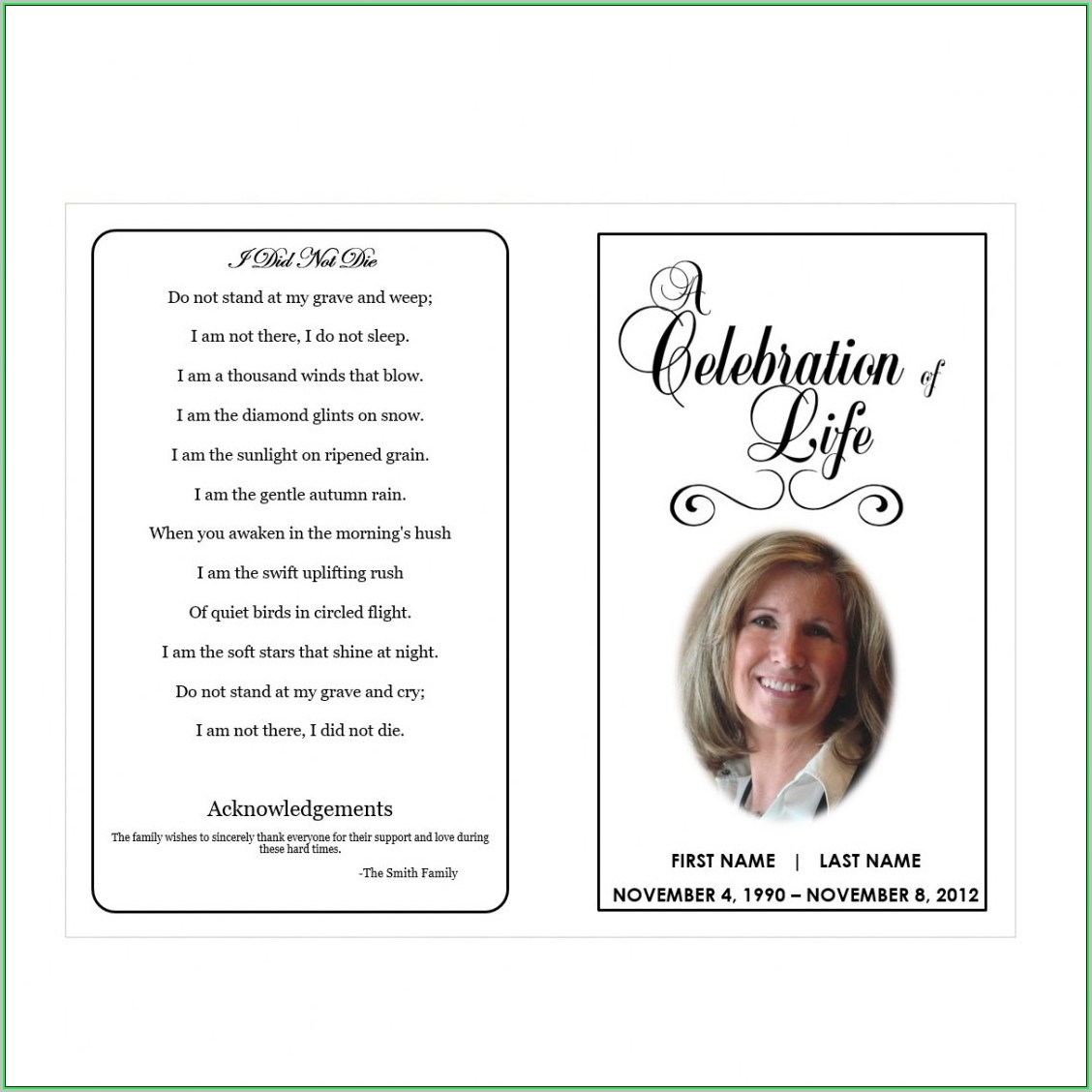 Free Printable Memorial Service Program Template