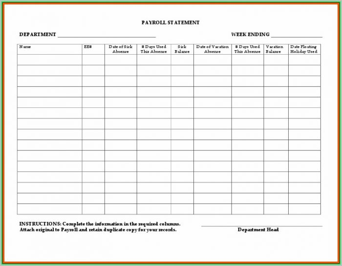 Free Printable Payroll Templates