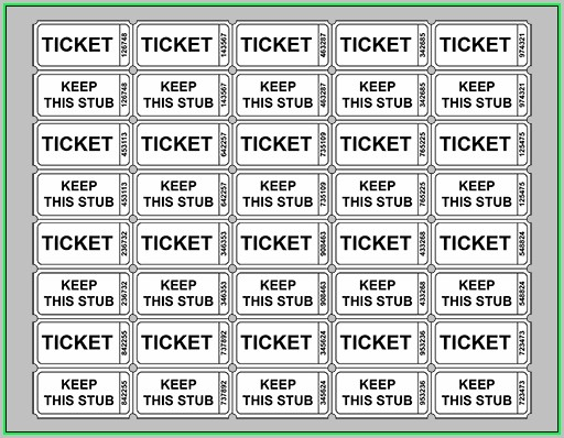 This is a photo of Free Printable Raffle Ticket Template in numbered