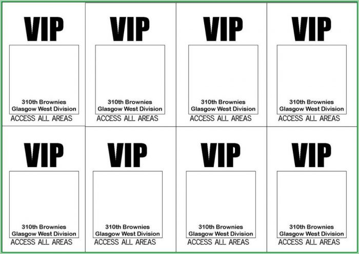 Free Printable Vip Pass Template