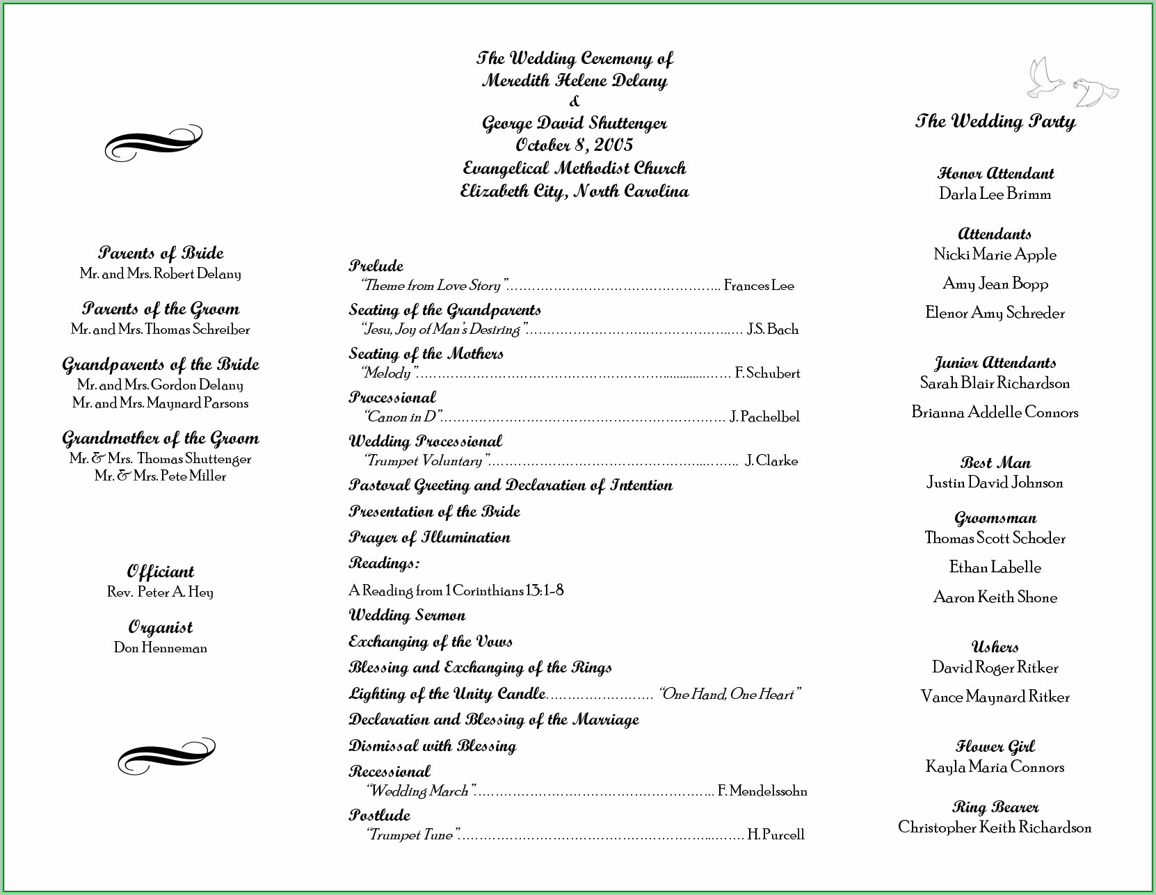 Free Printable Wedding Program Templates Download