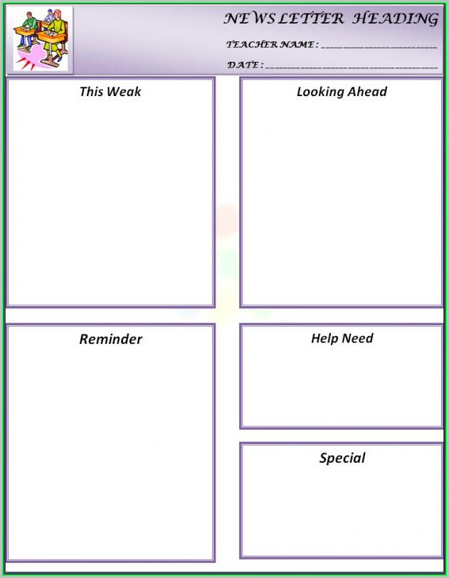 Free Printable Weekly Newsletter Templates For Teachers
