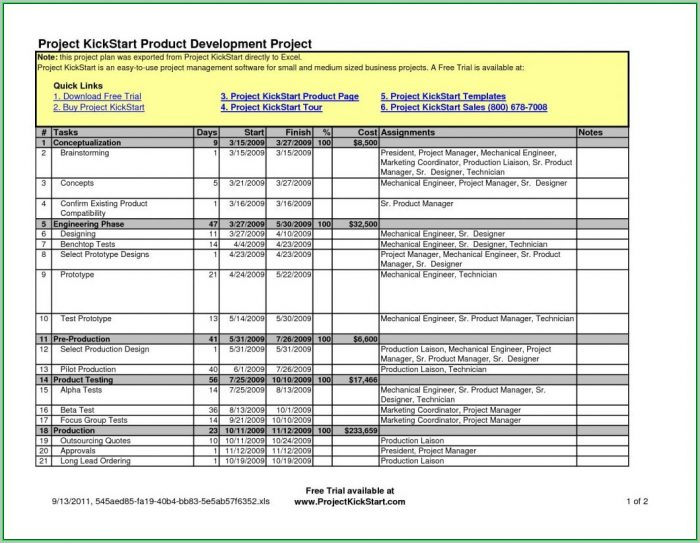 Free Project Management Templates Excel 2013