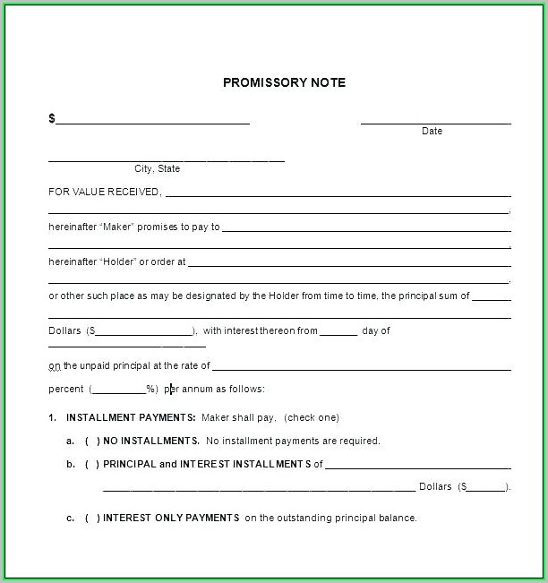 Free Promissory Note Template For Personal Loan Uk