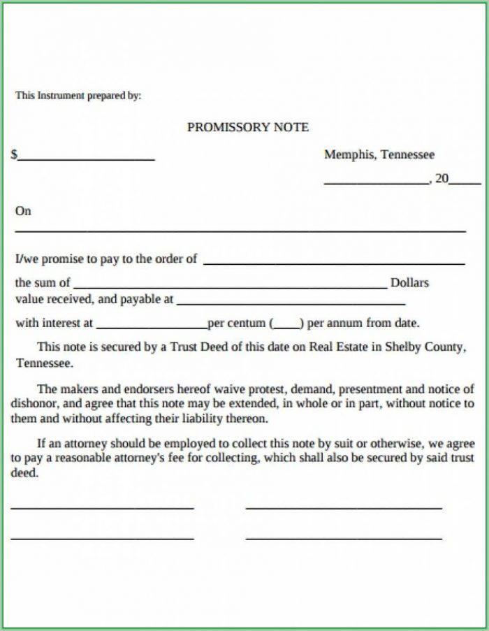 Free Promissory Note Template Word Document