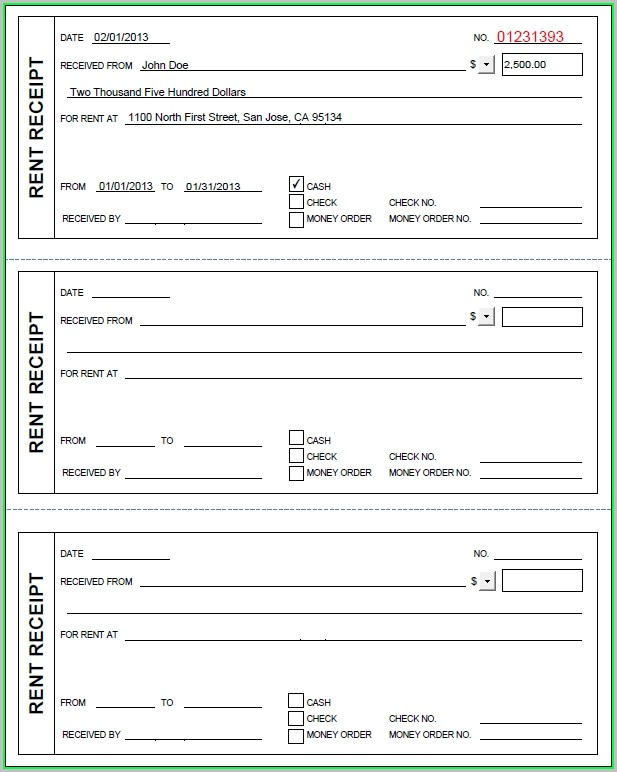 Free Rent Receipt Template Ontario