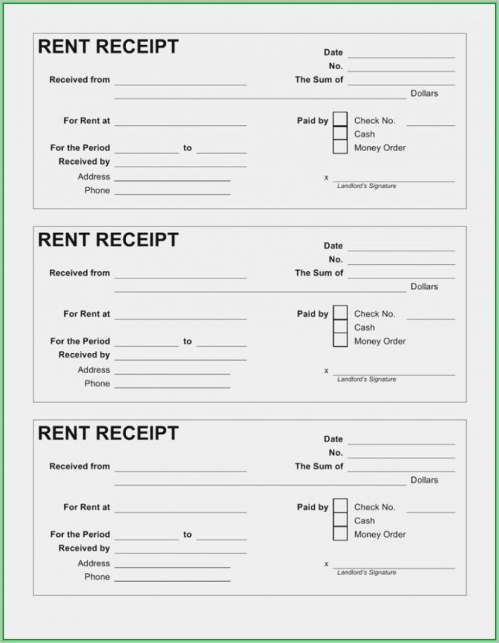 Free Rent Receipt Template Pdf