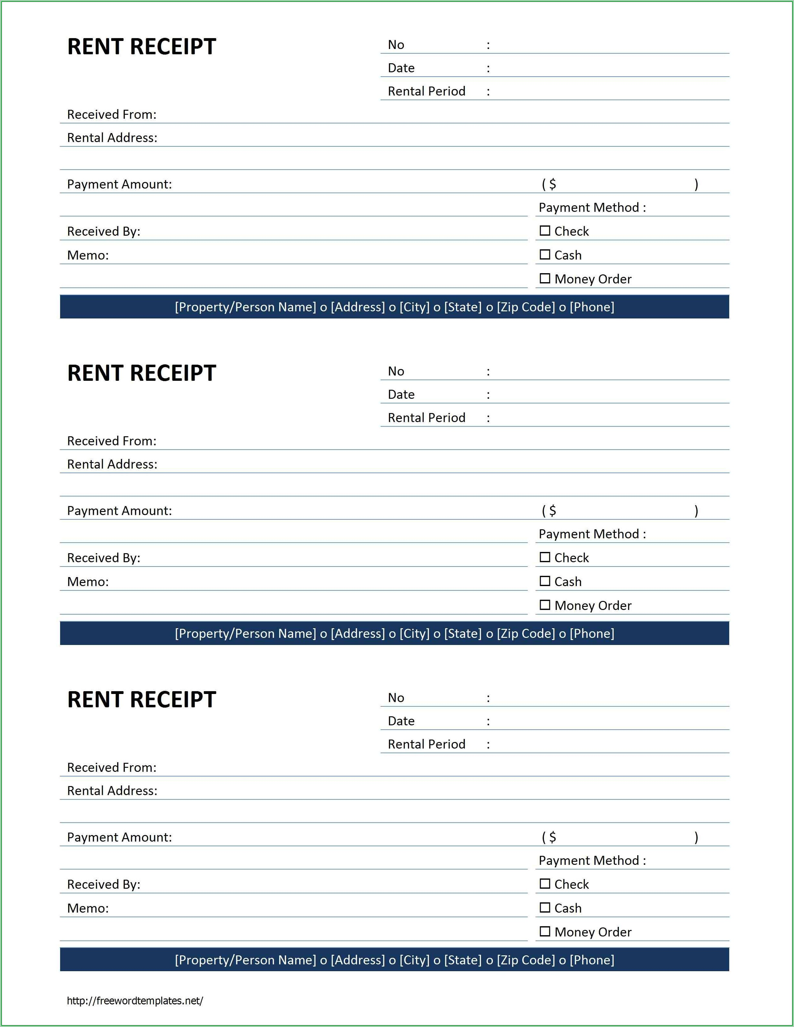Free Rent Receipt Template Word