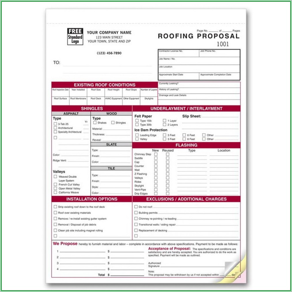 Free Roofing Estimate Template Pdf