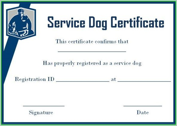 Free Service Dog Certificate Template