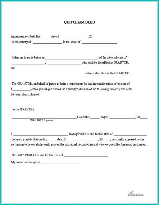 Quit Claim Deed Blank Form