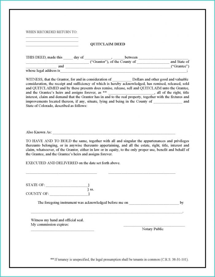 Quit Claim Deed Form Colorado