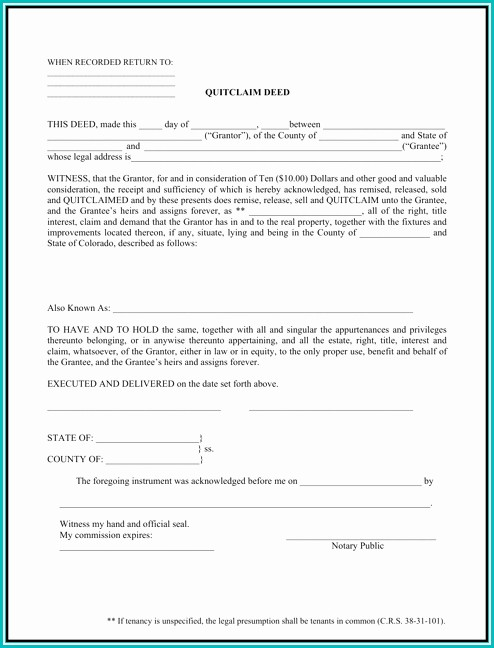 Quit Claim Deed Form Colorado Sample