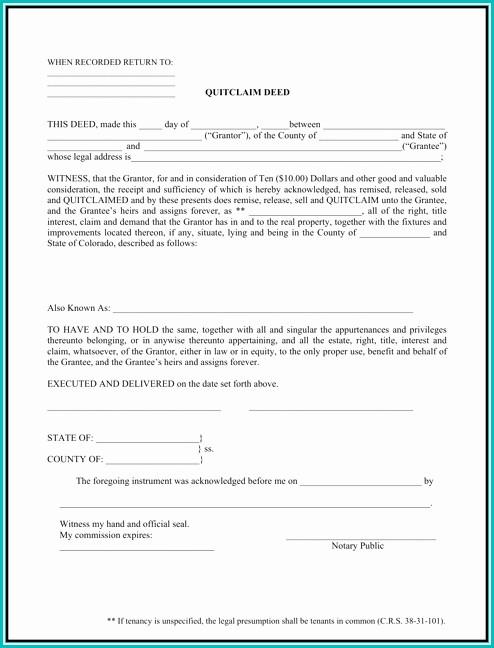 Quit Claim Deed Form Colorado Sample