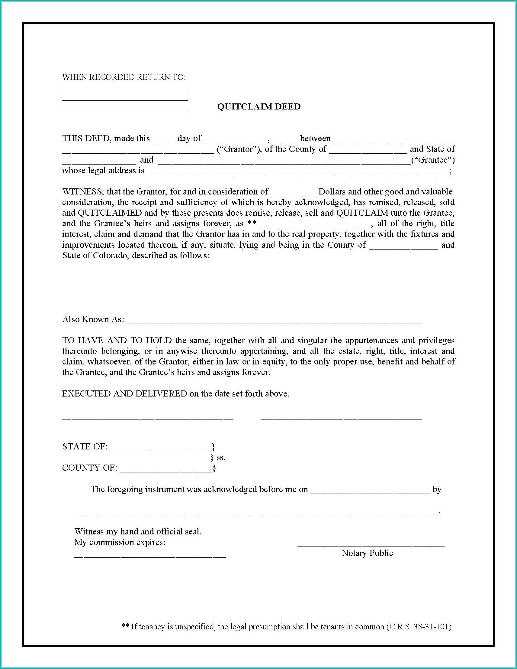 Quit Claim Deed Form Colorado