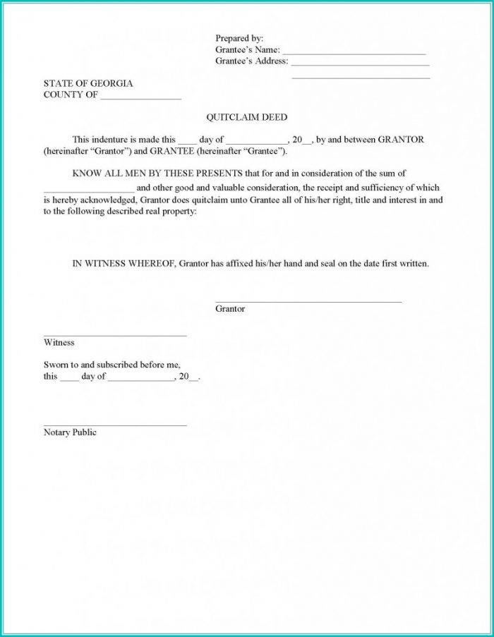 Quit Claim Deed Form Georgia