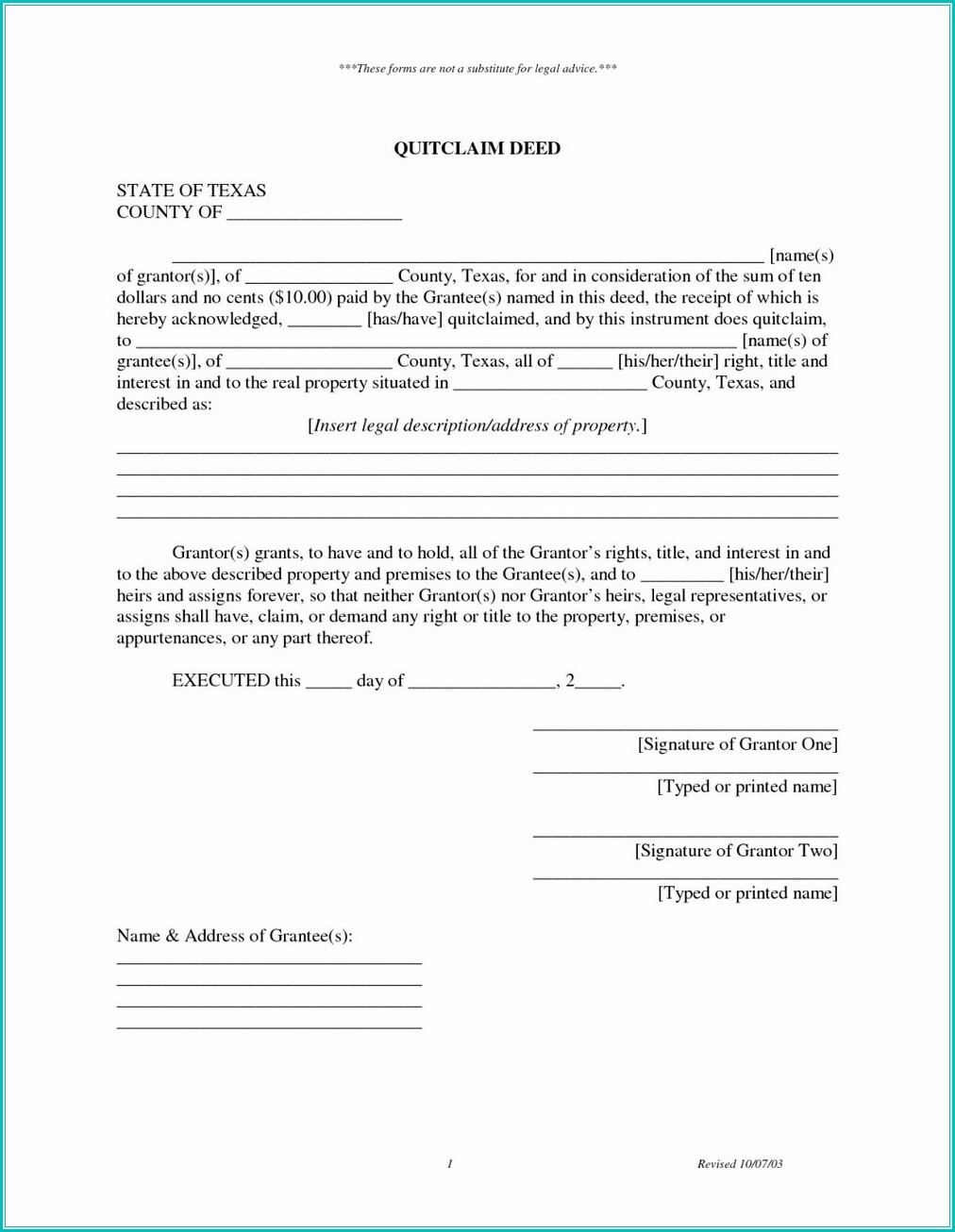 Quit Claim Deed Form Mn Pdf