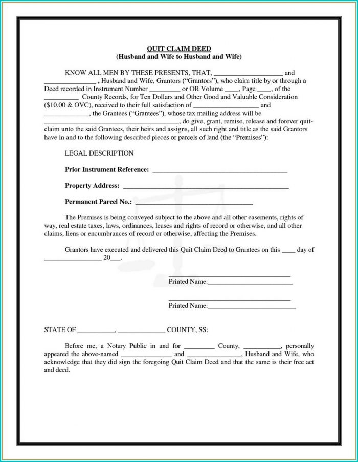 Quit Claim Deed Form Washington State Instructions