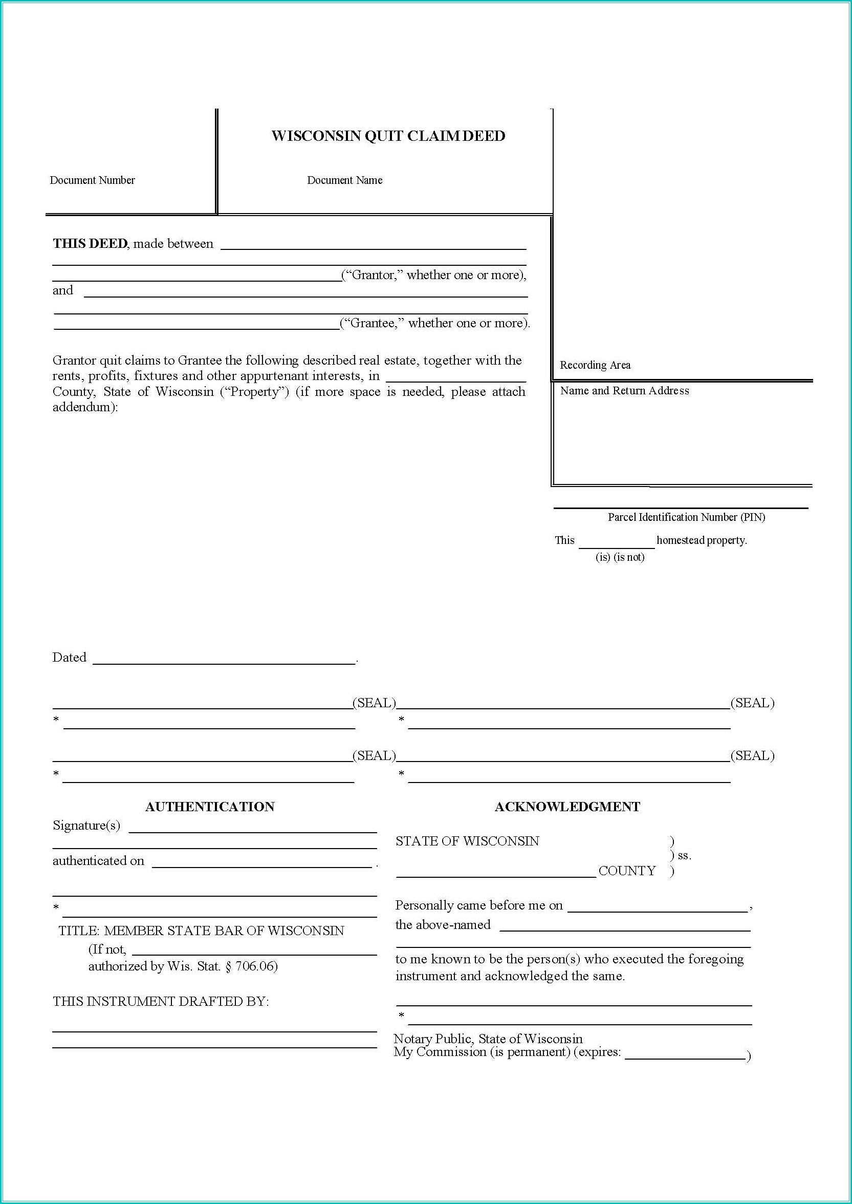 Quit Claim Deed Form Wisconsin