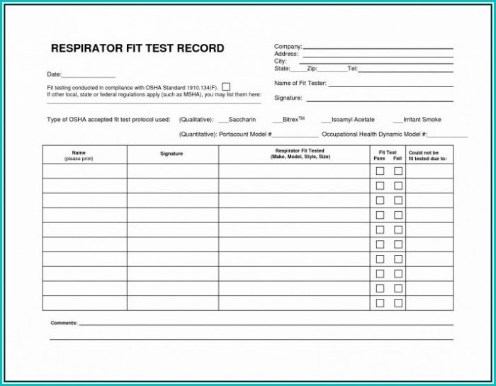 Respirator Fit Test Form