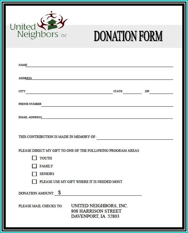Sample Donation Forms For Nonprofits