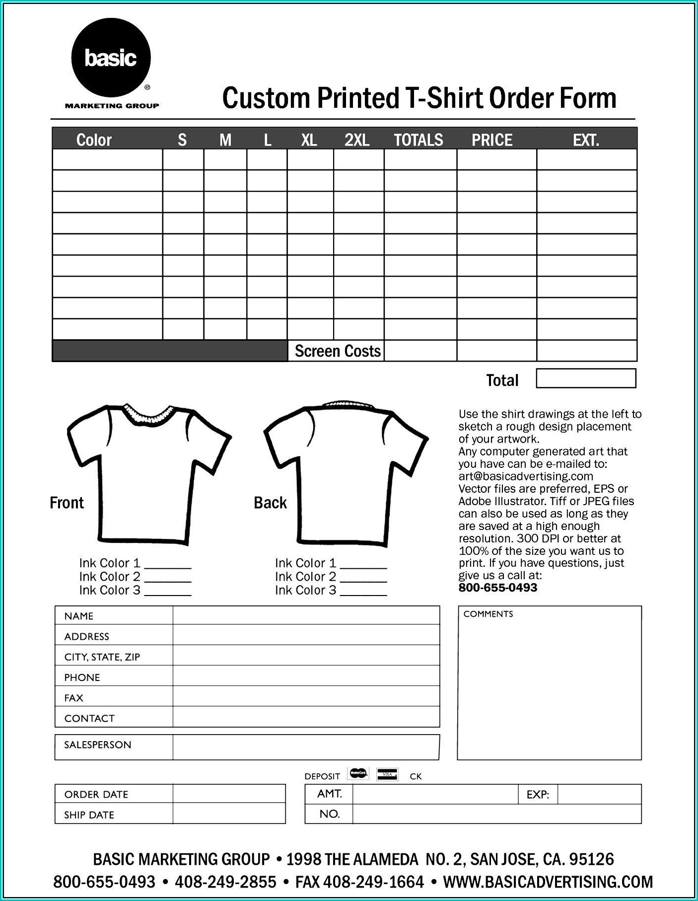 Sample T Shirt Order Form Template