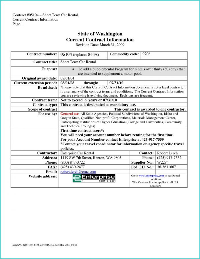 Simple Car Rental Agreement Form