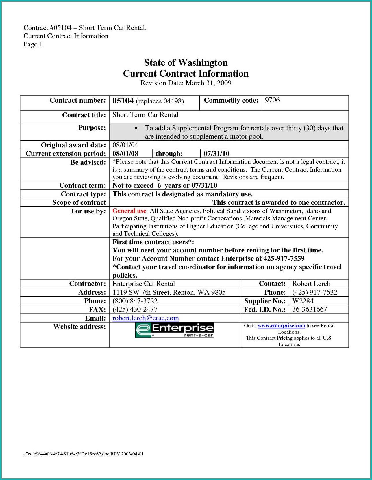 Simple Car Rental Agreement Form