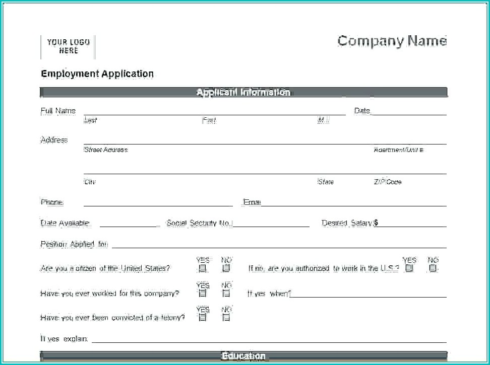 Simple Job Application Form Template Word