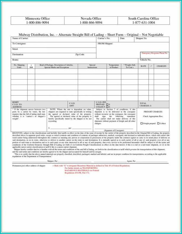 Straight Bill Of Lading Short Form Template